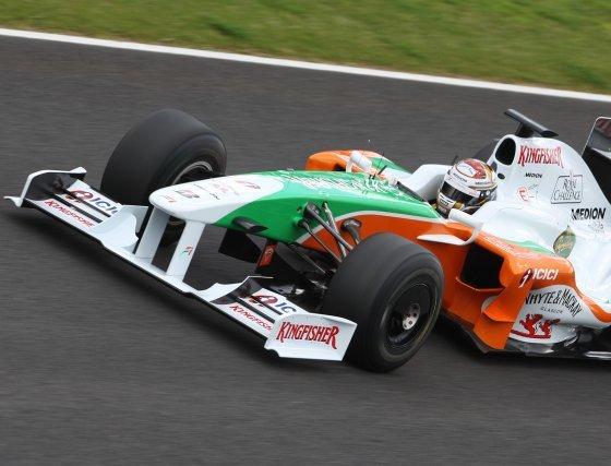 El alemán Adrian Sutil (Force India) firmó con 1.20.621 el quinto mejor tiempo de los monoplazas.  Foto: J. C. Toro