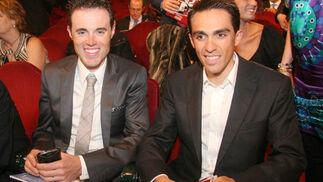 Los ciclistas Samuel Sánchez (medallista olímpico en Pekín 2008) y Alberto Contador (ganador de la Triple Corona: Tour, Giro y Vuelta).  Foto: Belén Vargas