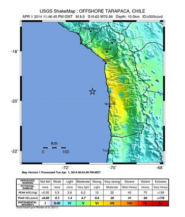 Mapa que muestra la intensidad de los temblores.  Foto: EFE