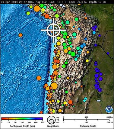 La ubicación (cruz blanca) del sismo 1 de abril en la costa de Chile.   Foto: EFE