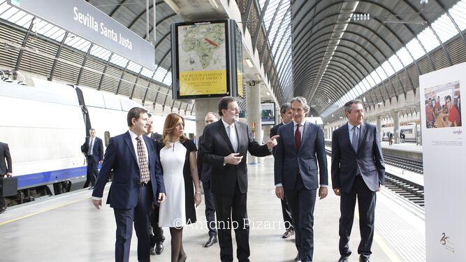Susana Díaz con Rajoy, Espadas y De la Serna en Santa Justa.