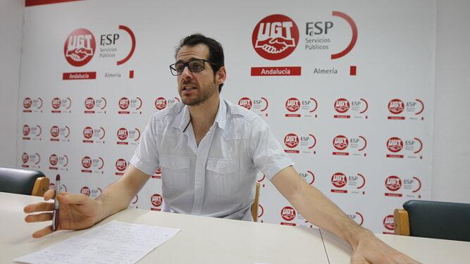 Iván Martínez durante la entrevista en la sede del sindicato.
