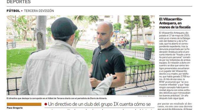 26 de mayo de 2016. Diario de Almería ya se hacía eco hace dos cursos de cómo los amaños por apuestas empezaban a contaminar la Tercera División.