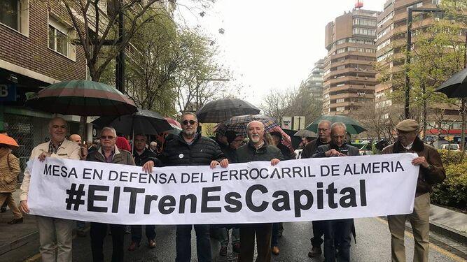 En la manifestación del tren de Granada