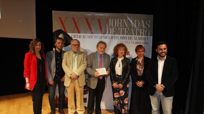 Luciano García y Manuel Galiana con Ricardo Arqueros, María del Mar Mañas, María del Mar Ruiz y Carlos Sánchez.