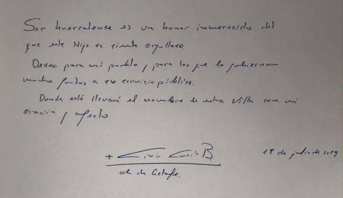 Mensaje de García Beltrán en el Libro de Honor de Huércal-Overa